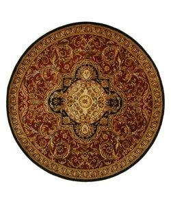 Safavieh Handmade Classic Royal Red/ Black Wool Rug (8' Round)