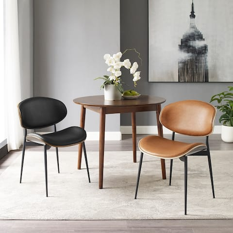Mid-Century Faux Leather Upholstered Wood Accent Desk Chair