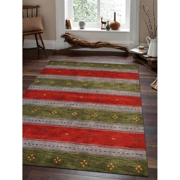 Striped Carpet Indian Oriental Hand Knotted Gabbeh Modern Area Rug