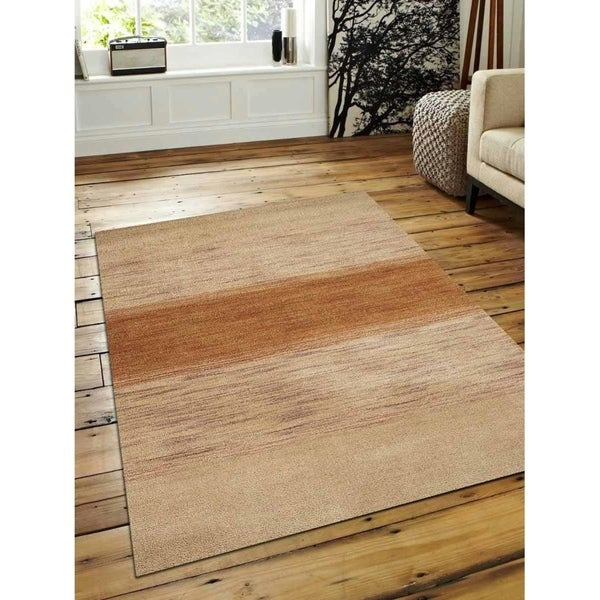 Transitional Ombre Hand Knotted Gabbeh Carpet Indian Oriental Area Rug