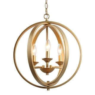 """Gold Chandelier with 3 lights Ceiling Hanging Pendnat Lighting for Kitchen Island - W15.5"""" x H18"""""""