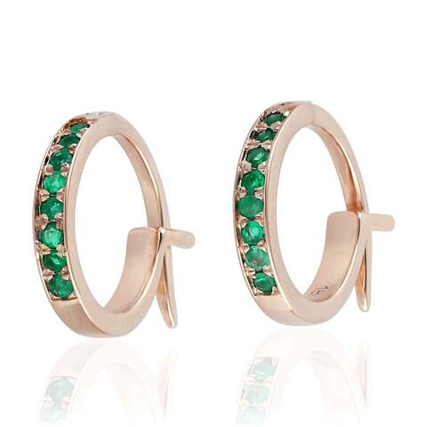 18K Rose Gold Micropave-Set Emerald Huggie Hoop Fashion Earrings For Women