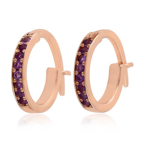 18K Rose Gold Micropave-Set Amethyst Huggie Hoop Fashion Earrings For Women