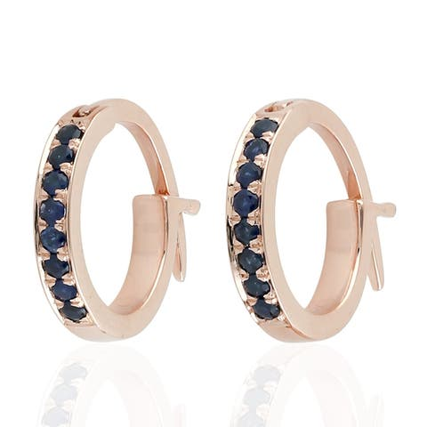 18K Rose Gold Micropave-Set Blue Sapphire Huggie Hoop Fashion Earrings For Women