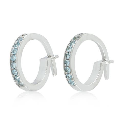 18K White Gold Micropave-Set Blue Topaz Huggie Hoop Fashion Earrings For Women