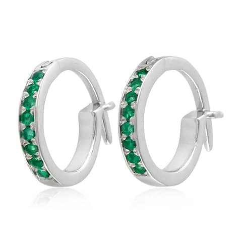18k White Gold Micropave-Set Emerals Huggie Hoop Fashion Earrings For Women