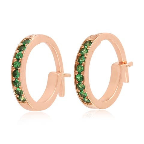 18k Yellow Gold Micropave-Set Tsavorite Huggie Hoop Fashion Earrings For Women