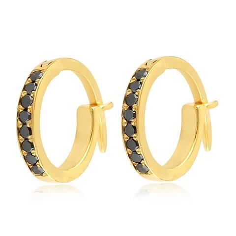 18k Yellow Gold Micropave-Set Black Diamond Huggie Hoop Fashion Earrings For Women With Jewelry Box