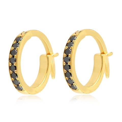 18k Yellow Gold Micropave-Set Black Diamond Huggie Hoop Fashion Earrings For Women