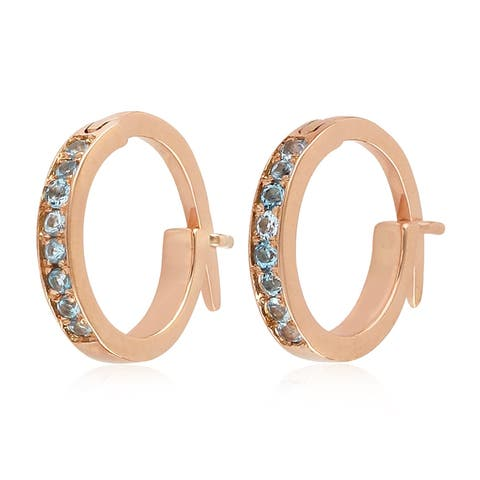 18K Rose Gold Micropave-Set Blue Topaz Huggie Hoop Fashion Earrings For Women