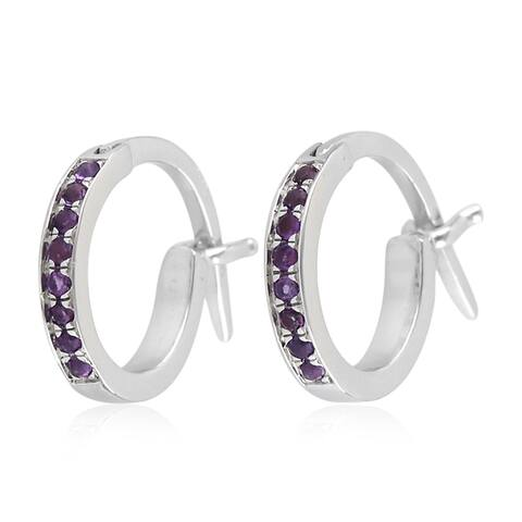 18K White Gold Micropave-Set Amethyst Huggie Hoop Fashion Earrings For Women