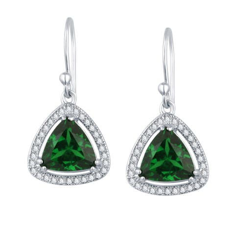 Sterling Silver with Emerald and Natural White Topaz Dangle Earring