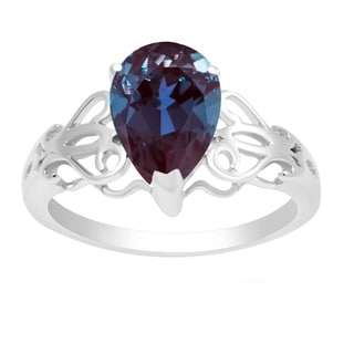 Sterling Silver With Color Changing Alexandrite Pear Shape Ring