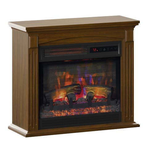 duraflame Wall Mantel Infrared QuartzElectric Fireplace with Crackling Sound