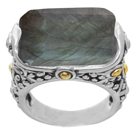 Sterling Silver with Natural Labradorite Scrollwork Ring