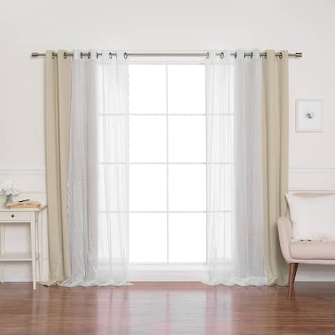 Porch & Den Munger Sheer Pretty Dot and Blackout Curtains (Set of 4 panels)