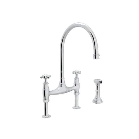 Rohl U.4718X-APC-2 Perrin and Rowe High-Arc Bridge Kitchen Faucet