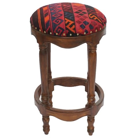 """Vintage Kilim Wood Bar Stool Ivan Red/Blue (18"""" x 18"""" x 32"""") - 18"""" x 18"""" x 32"""""""