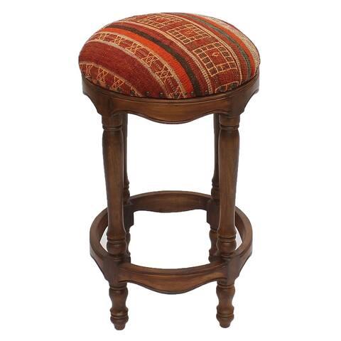 "Vintage Kilim Wood Bar Stool Morris Black/Orange (18"" x 18"" x 33"") - 18"" x 18"" x 33"""