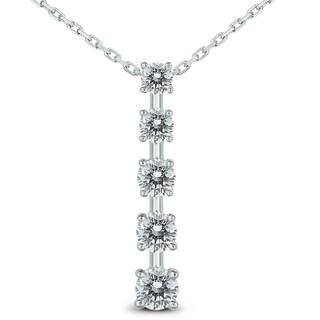 3 4 Carat TW Diamond Journey Pendant In 14K White Gold