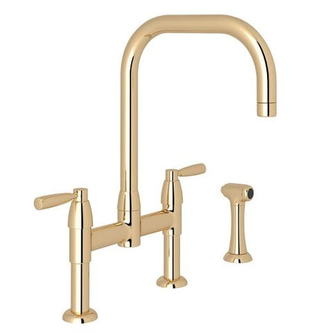 Rohl U.4279LS-EG-2 Perrin and Rowe Bridge Faucet With Double-Lever Handle