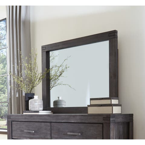 Carbon Loft Melbury Solid Wood Beveled Glass Solid Wood Mirror in Graphite