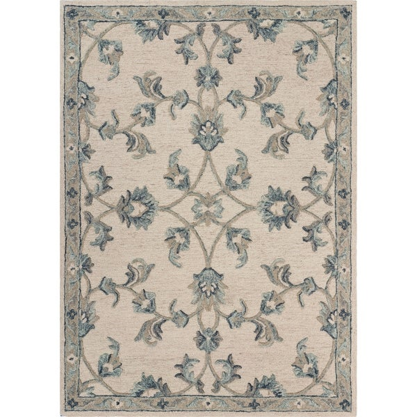 """Mirroring Ivory and Blue Floral Bloom Area Rug 7'0"""" x 9'0"""" - 7'0"""" x 9'0"""""""