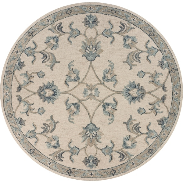 "Mirroring Ivory and Blue Floral Bloom Area Rug 4'10"" Round - 4'10"" Round"