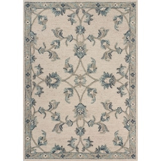 "Mirroring Ivory and Blue Floral Bloom Area Rug 5'0"" x 7'0"" - 5'0"" x 7'0"""