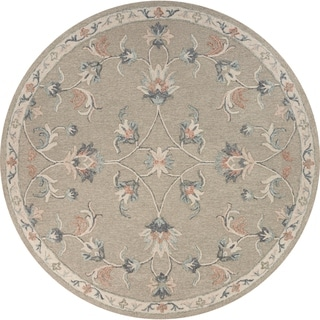 "Mirroring Floral Bloom Area Rug 7'3"" Round - 7'3 Round"