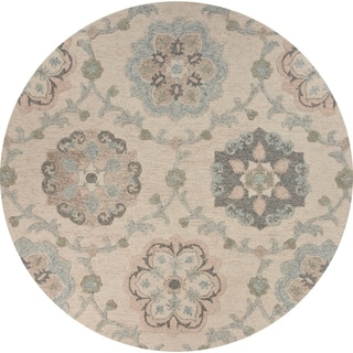 "Delicate Ivory and Light Blue Traditional Floral Area Rug 4'10"" Round - 4'10"" Round"