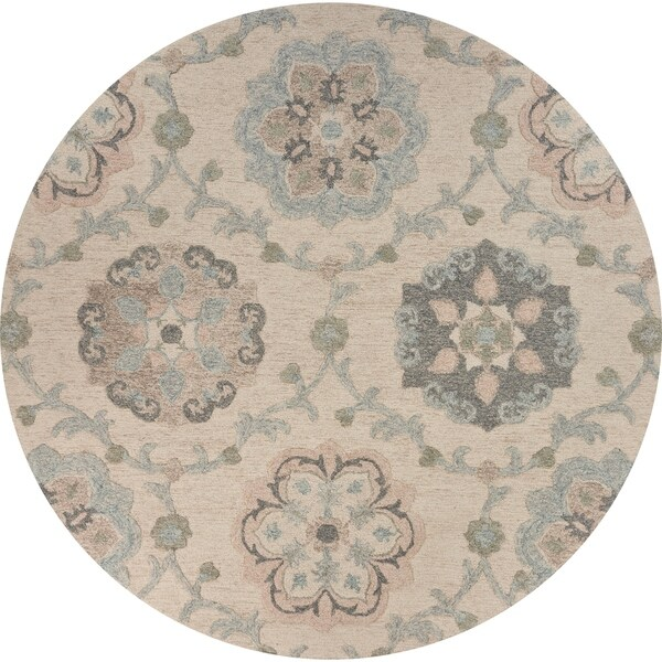 """Delicate Ivory and Light Blue Traditional Floral Area Rug 4'10"""" Round - 4'10"""" Round"""