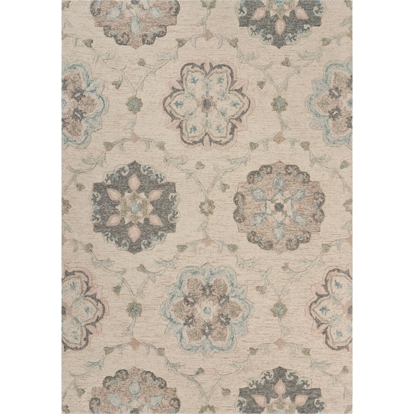 "Delicate Ivory and Light Blue Traditional Floral Area Rug 7'0"" x 9'0"" - 7'0"" x 9'0"""