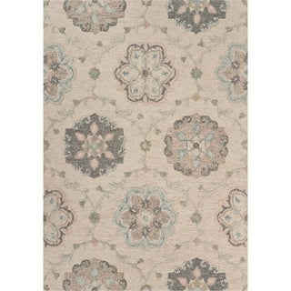 """Delicate Ivory and Light Blue Traditional Floral Area Rug 5'0"""" x 7'0"""" - 5'0"""" x 7'0"""""""