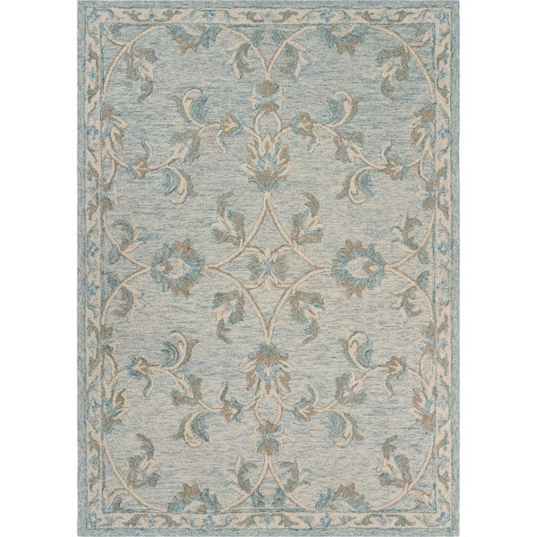 "Mirroring Baby Blue Floral Bloom Area Rug 7'0"" x 9'0"" - 7'0"" x 9'0"""