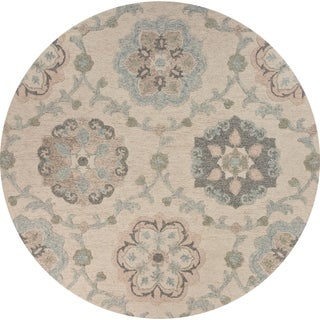 """Delicate Ivory and Light Blue Traditional Floral Area Rug 7'3"""" Round - 7'3 Round"""