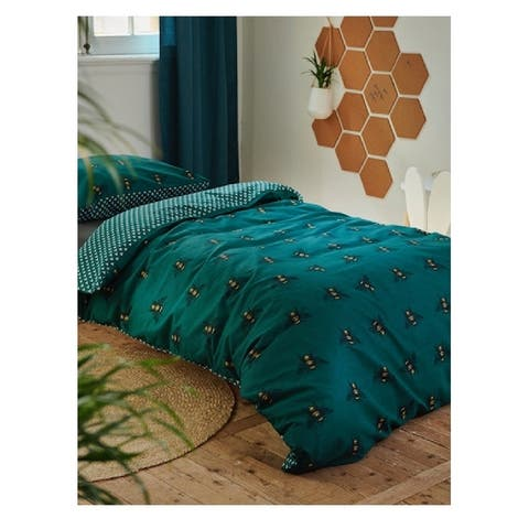 Covers & Co 144TC Cotton Green Dbl-Full Bee You Duvet Cover 3pc Set