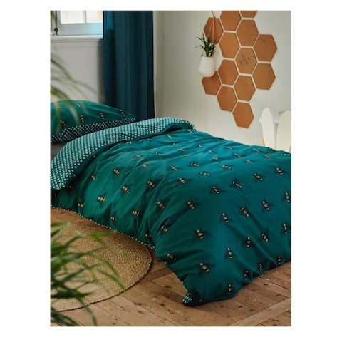 Covers & Co 144TC Cotton Green Twin Bee You Duvet Cover 3pc Set