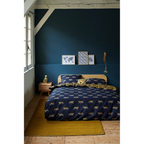 Covers & Co 144TC Cotton Dark Blue Queen Machli Duvet Cover 3pc Set