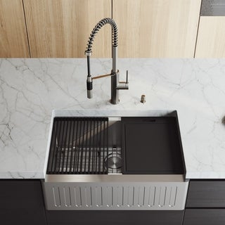 """VIGO 30"""" Oxford Stainless Steel Slotted Apron Kitchen Sink Workstation with Livingston Faucet & Soap Dispenser"""
