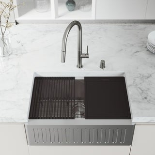 """VIGO 30"""" Oxford Stainless Steel Slotted Apron Kitchen Sink Workstation with Steel Greenwich Faucet & Soap Dispenser"""