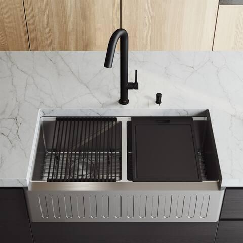 "VIGO 36"" Oxford Stainless Steel Slotted Apron 2-Bowl Kitchen Sink Workstation with Oakhurst LED Faucet & Soap Dispenser"