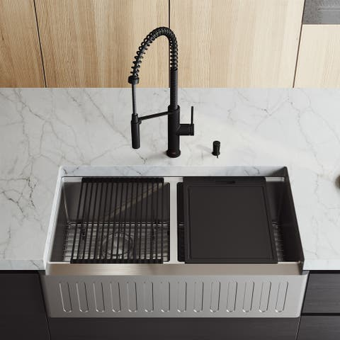 """VIGO 36"""" Oxford Stainless Steel Slotted Apron 2 -Bowl Kitchen Sink Workstation with Livingston Faucet & Soap Dispenser"""