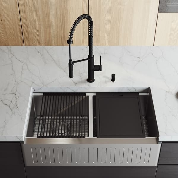 Vigo 36 Oxford Stainless Steel Slotted Apron 2 Bowl Kitchen Sink Workstation With Livingston Faucet Soap Dispenser Overstock 29401822