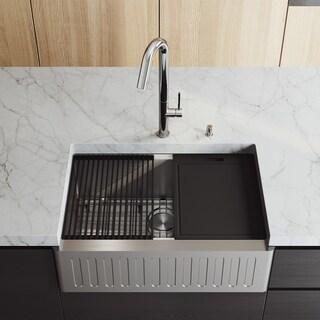 "VIGO 30"" Oxford Stainless Steel Slotted Apron Kitchen Sink Workstation with Chrome Oakhurst LED Faucet & Soap Dispenser"