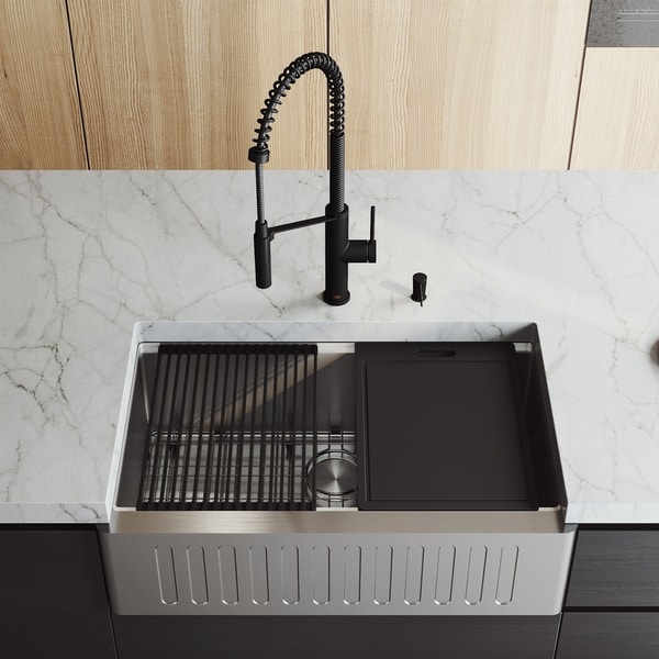 "VIGO 33"" Oxford Stainless Steel Slotted Apron Kitchen Sink Workstation with Black Livingston Faucet & Soap Dispenser"