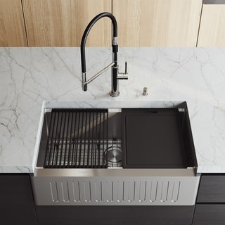 """VIGO 33"""" Oxford Stainless Steel Slotted Apron Kitchen Sink Workstation with Magnetic Norwood Faucet & Soap Dispenser"""