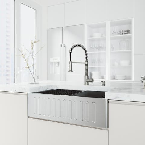 "VIGO 33"" Oxford Stainless Steel Slotted Apron Kitchen Sink Workstation, Stainless Steel Edison Faucet & Soap Dispenser"