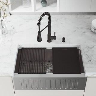 "VIGO 33"" Oxford Stainless Steel Slotted Apron Kitchen Sink Workstation with Matte Black Brant Faucet & Soap Dispenser"