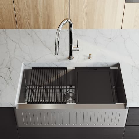 """VIGO 36"""" Oxford Stainless Steel Slotted Apron Kitchen Sink Workstation with Black Greenwich Faucet & Soap Dispenser"""